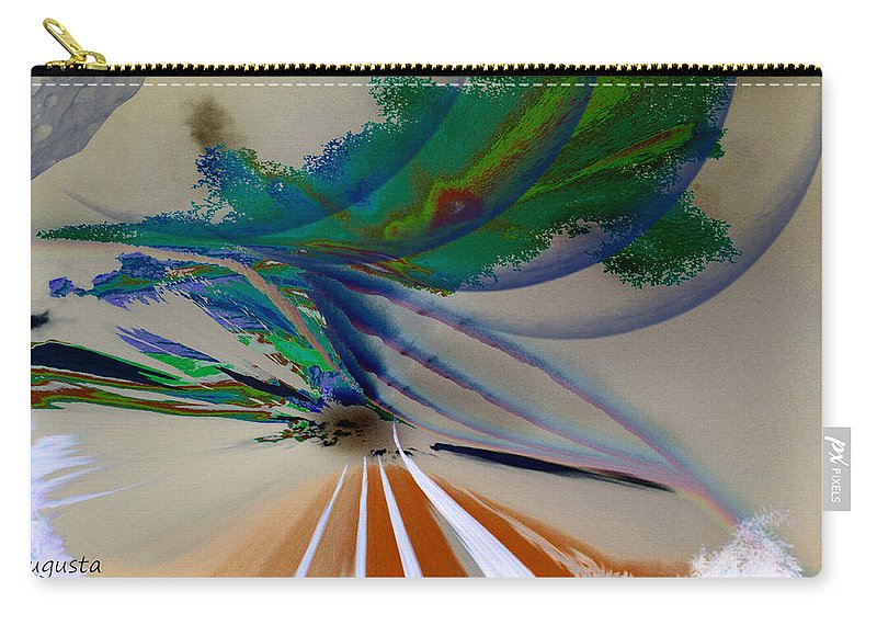 Augusta Stylianou Carry-all Pouch featuring the digital art Green Planets by Augusta Stylianou