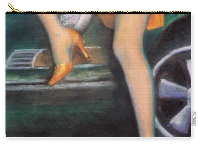 Sensual Carry-all Pouch featuring the pastel Green Porsche by Mary Ann Leitch