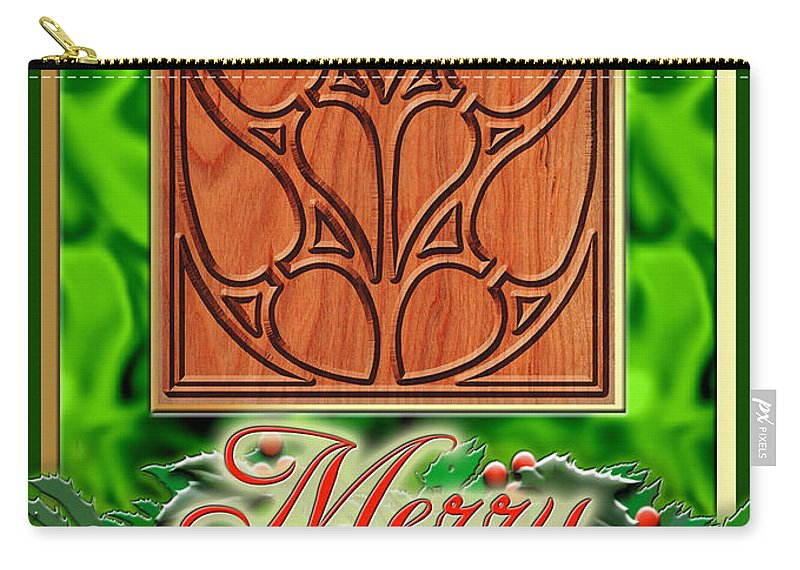 Christmas Carry-all Pouch featuring the digital art Green Satin Merry Christmas by Melissa A Benson