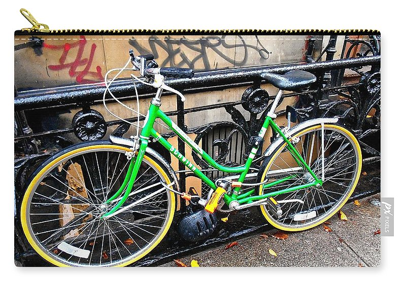 New York City Bicycle Carry-all Pouch featuring the photograph Green Schwinn Bike Nyc by Joan Reese