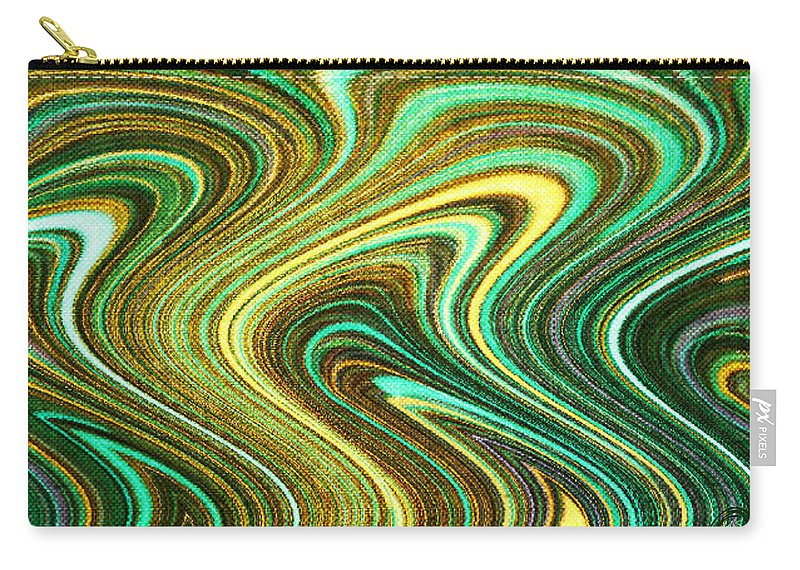 Green Carry-all Pouch featuring the digital art Green Swirls Mind Bend by Absinthe Art By Michelle LeAnn Scott