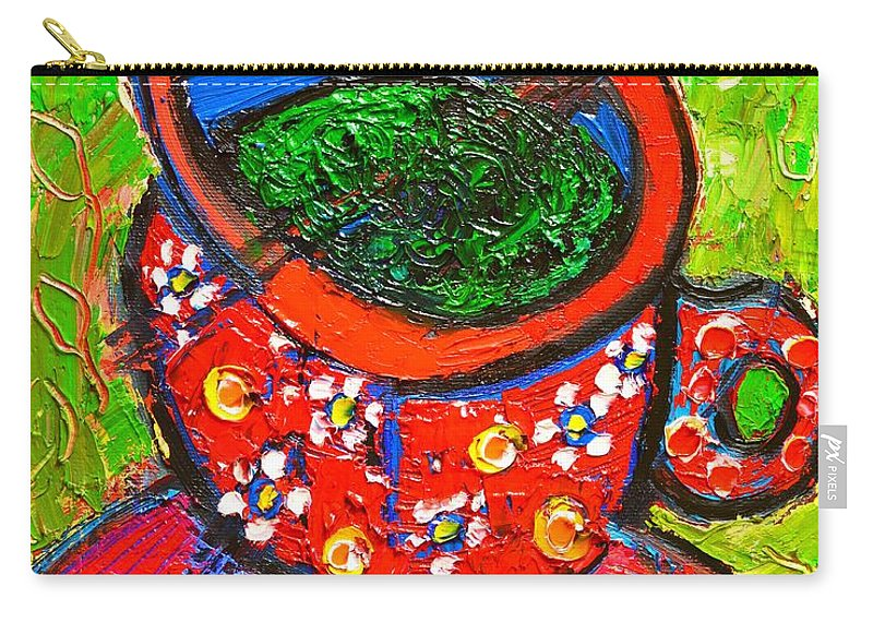 Green Carry-all Pouch featuring the painting Green Tea In Red Cup by Ana Maria Edulescu