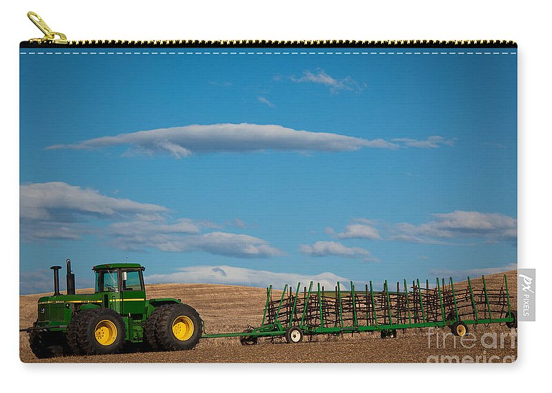 America Carry-all Pouch featuring the photograph Green Tractor by Inge Johnsson