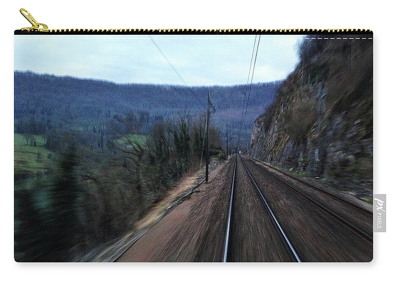 Railroad Track Carry-all Pouch featuring the photograph Green Travel by Lazypixel / Brunner Sébastien