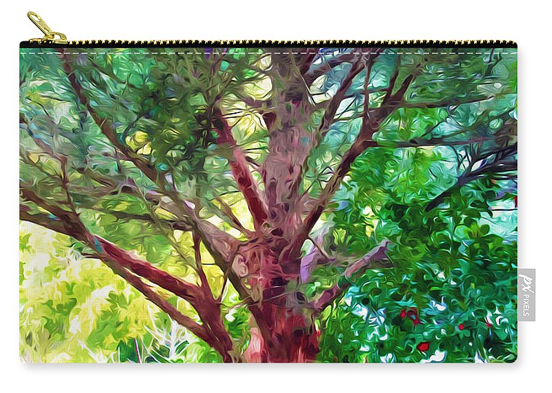 Tree Carry-all Pouch featuring the painting Green Tree by Jeelan Clark