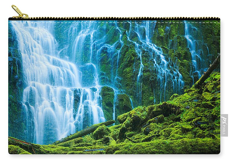 America Carry-all Pouch featuring the photograph Green Waterfall by Inge Johnsson