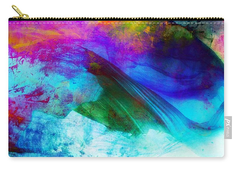 Abstract Carry-all Pouch featuring the painting Green Wave - Vibrant Artwork by Lilia D