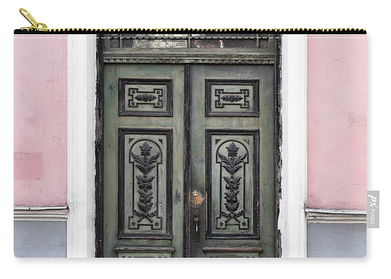 Rectangle Carry-all Pouch featuring the photograph Green Wooden Door In Old Building by Eugenesergeev