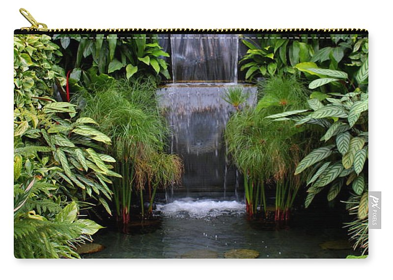 Waterfall Carry-all Pouch featuring the photograph Greenhouse Garden Waterfall by Carol Groenen