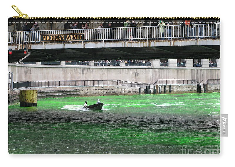 Chicago Carry-all Pouch featuring the photograph Greening The Chicago River by Ann Horn