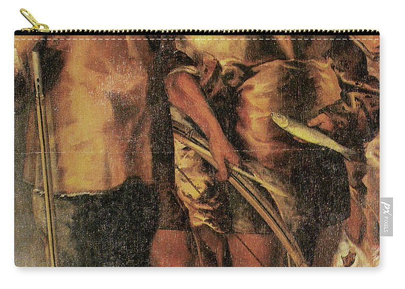 1654 Carry-all Pouch featuring the painting Greenlanders, 1654 by Granger