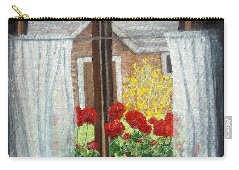 Windows Carry-all Pouch featuring the painting Greet The Day by Laurie Morgan