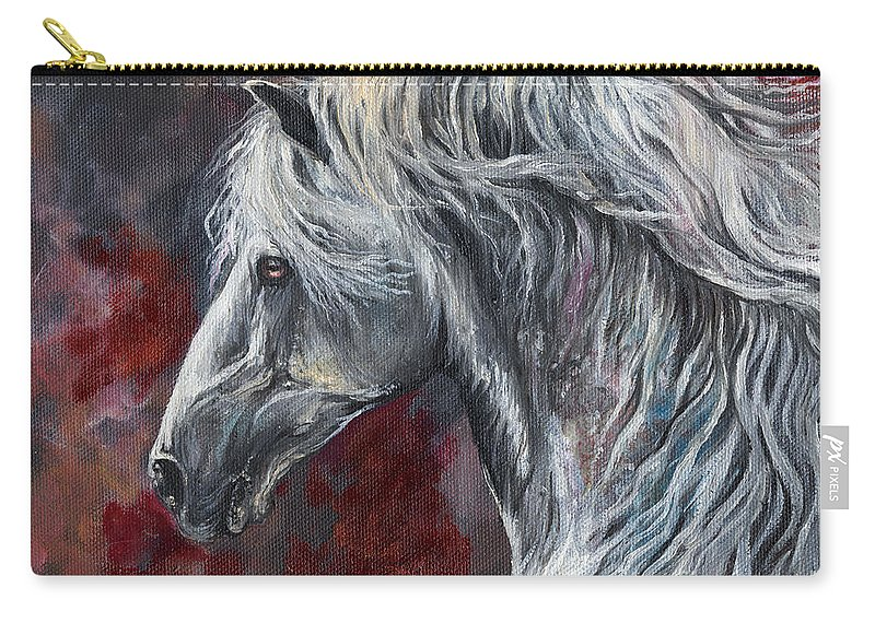 Horse Carry-all Pouch featuring the painting Grey Andalusian Horse Oil Painting 2013 11 26 by Angel Ciesniarska