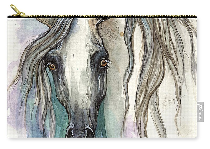 Horse Carry-all Pouch featuring the painting Grey Arabian Horse 2013 11 26 by Angel Ciesniarska