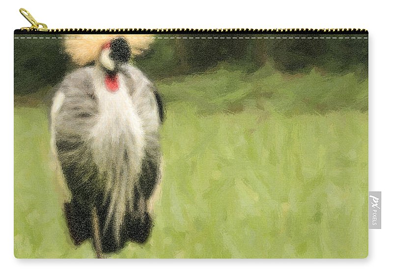 Grey Crowned-crane Carry-all Pouch featuring the digital art Grey Crowned-crane Balearica Regulorum by Liz Leyden