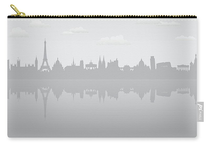 Clock Tower Carry-all Pouch featuring the digital art Grey Europe by Leontura