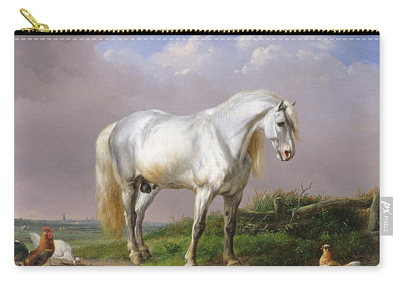 Horse Carry-all Pouch featuring the painting Grey Stallion by Eugene Joseph Verboeckhoven