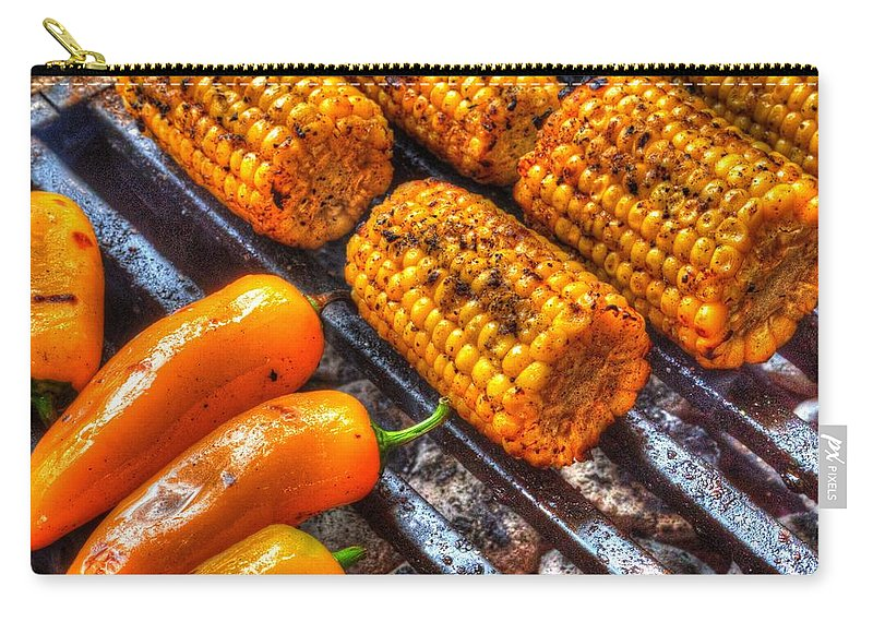 Pictorial Carry-all Pouch featuring the photograph Grilling Corn And Peppers by Roger Passman