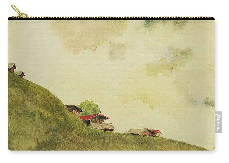 Swiss Carry-all Pouch featuring the painting Grindelwald Dobie Inspired by Mary Ellen Mueller Legault