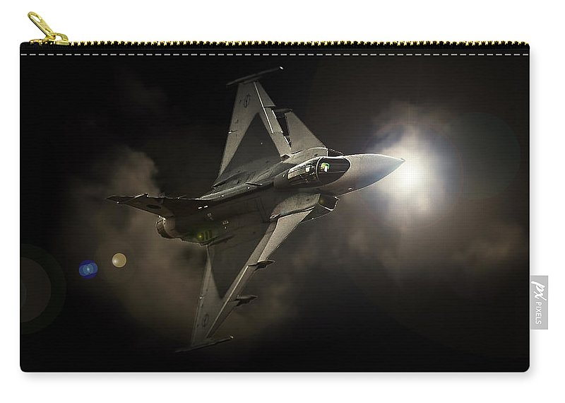 Saab Jas 39 Gripen Carry-all Pouch featuring the photograph Gripen Light by Paul Job