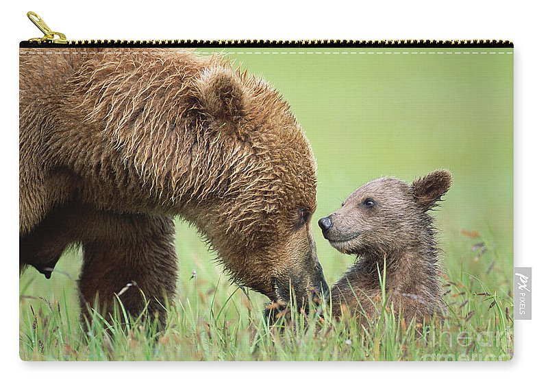 00345260 Carry-all Pouch featuring the photograph Grizzly Bear And Cub in Katmai by Yva Momatiuk John Eastcott