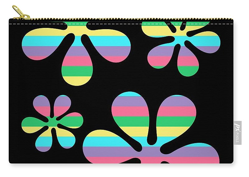 70s Carry-all Pouch featuring the digital art Groovy Flowers 4 by Donna Mibus