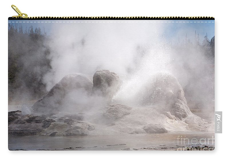 Grotto Geyser Carry-all Pouch featuring the photograph Grotto Geyser In Upper Geyser Basin In Yellowstone National Park by Fred Stearns