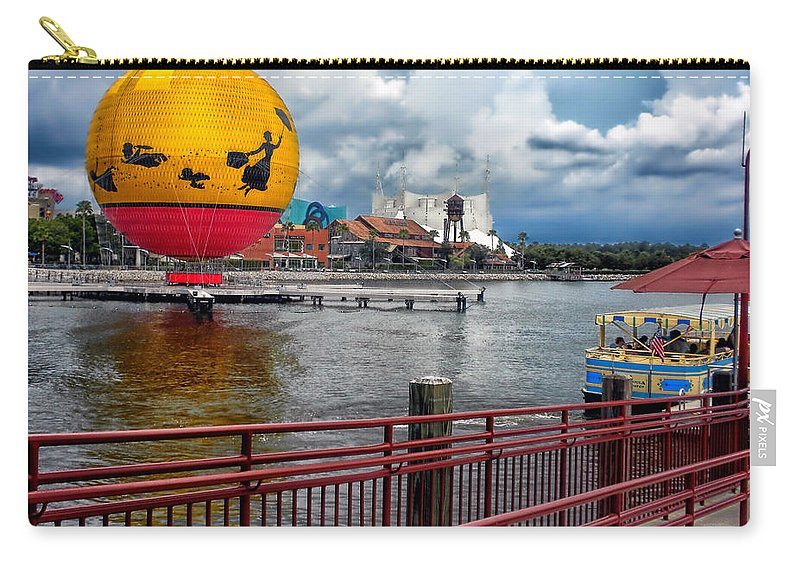 Transportation Carry-all Pouch featuring the photograph Grounded By The Storm Balloon Ride Walt Disney World by Thomas Woolworth