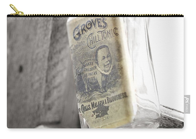 Bottle In Window Carry-all Pouch featuring the photograph Grove's Tonic by Erika Weber