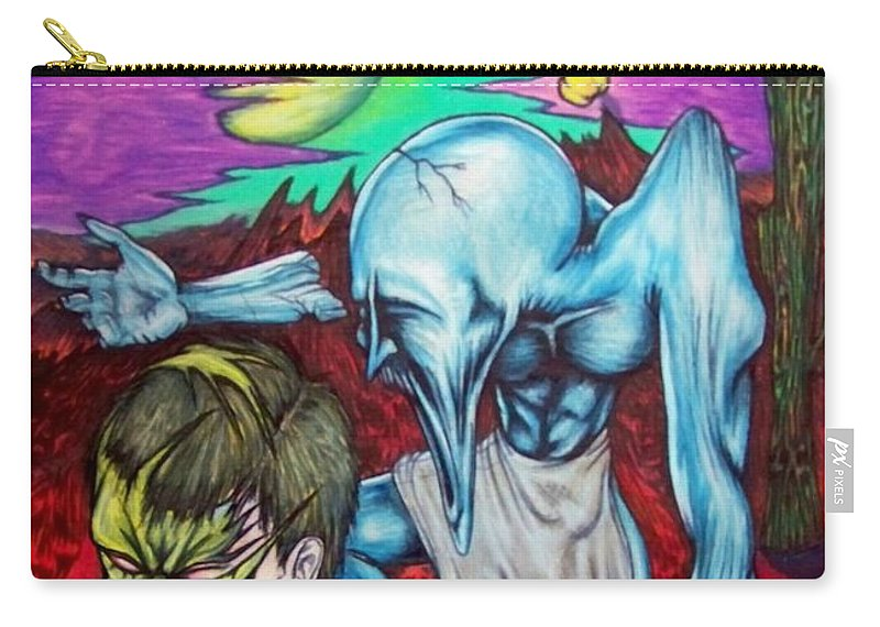 Tmad Carry-all Pouch featuring the drawing Growing Evils by Michael TMAD Finney