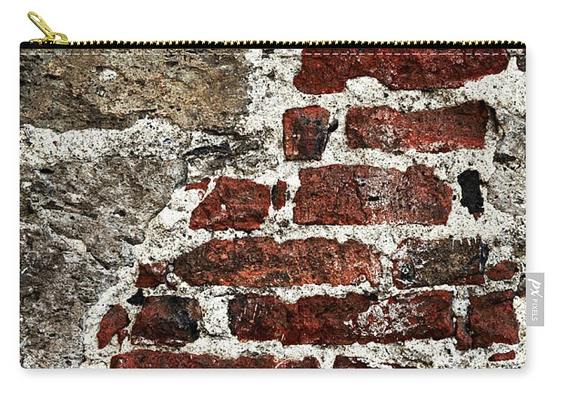 Wall Carry-all Pouch featuring the photograph Grunge Brick Wall by Elena Elisseeva