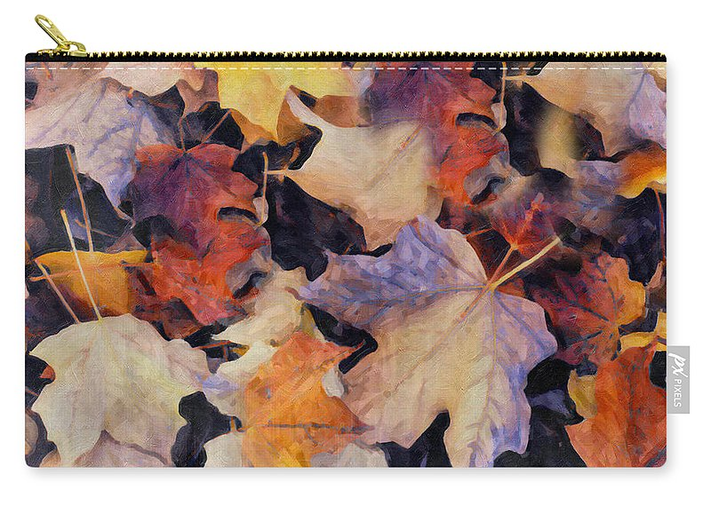 Grunge Carry-all Pouch featuring the digital art Grungy Autumn Leaves by Georgiana Romanovna