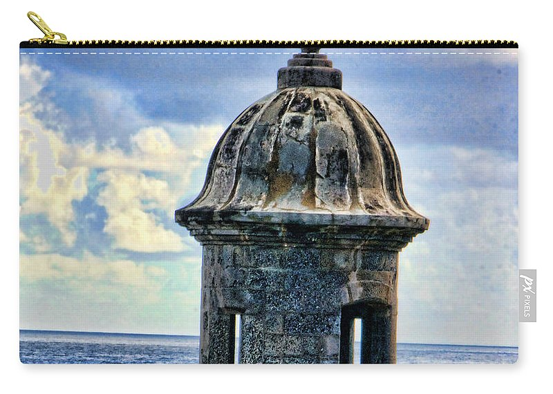 Guard Carry-all Pouch featuring the photograph Guard Tower At El Morro by Daniel Sheldon