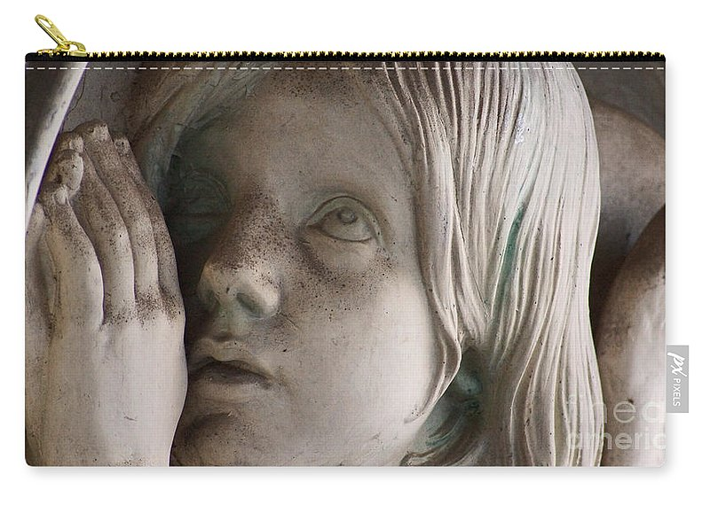 Angel Carry-all Pouch featuring the photograph Guardian Angel With Praying Hands by Eva-Maria Di Bella