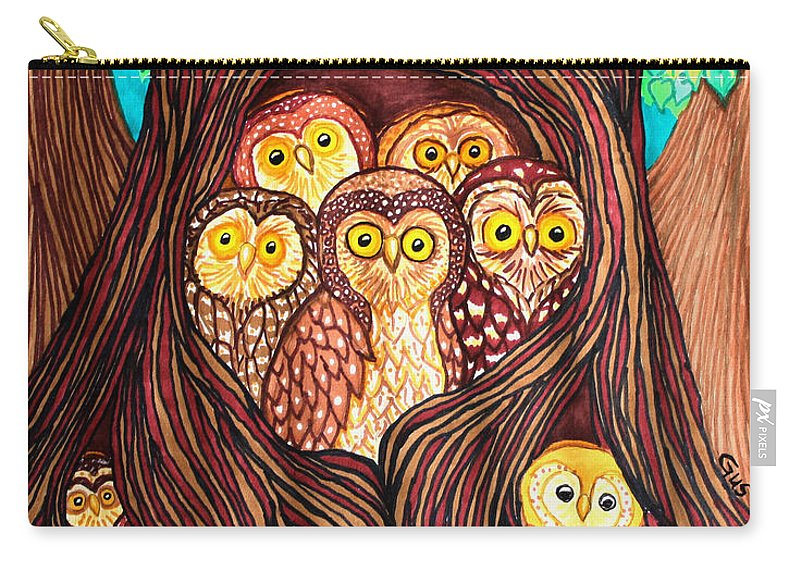 Owl Carry-all Pouch featuring the mixed media Guardians Of The Forest by Nick Gustafson