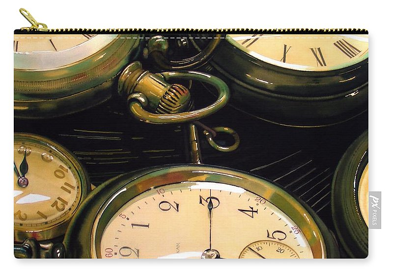 Clocks Carry-all Pouch featuring the painting Guardians Of Time by Denny Bond