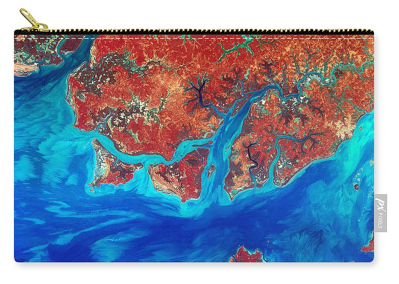 Guinea-bissau Carry-all Pouch featuring the digital art Guinea Bissau by USGS Landsat