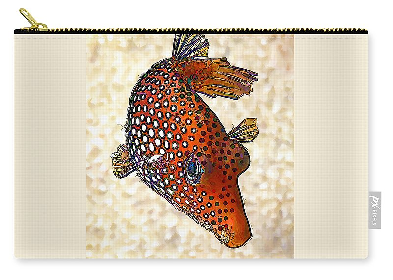 Nature Carry-all Pouch featuring the digital art Guinea Fowl Puffer Fish by ABeautifulSky Photography by Bill Caldwell