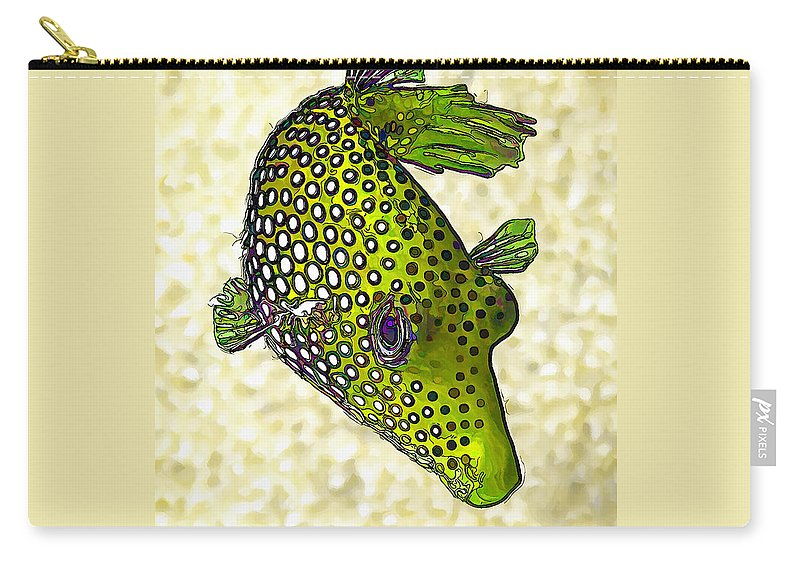 Nature Carry-all Pouch featuring the digital art Guinea Fowl Puffer Fish In Green by ABeautifulSky Photography by Bill Caldwell