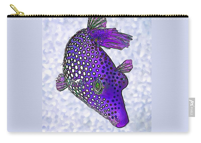 Nature Carry-all Pouch featuring the digital art Guinea Fowl Puffer Fish In Purple by ABeautifulSky Photography by Bill Caldwell