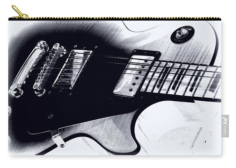 Bayou Carry-all Pouch featuring the photograph Guitar - Black And White by Travis Truelove