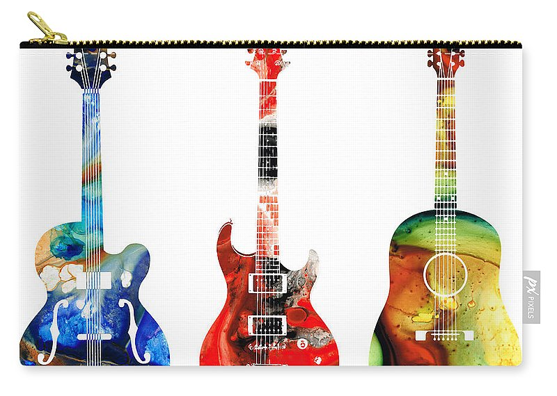 Guitar Carry-all Pouch featuring the painting Guitar Threesome - Colorful Guitars By Sharon Cummings by Sharon Cummings