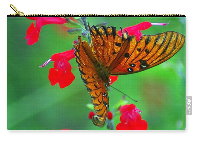 Butterfly Carry-all Pouch featuring the photograph Gulf Fritillary 1 by Nancy L Marshall