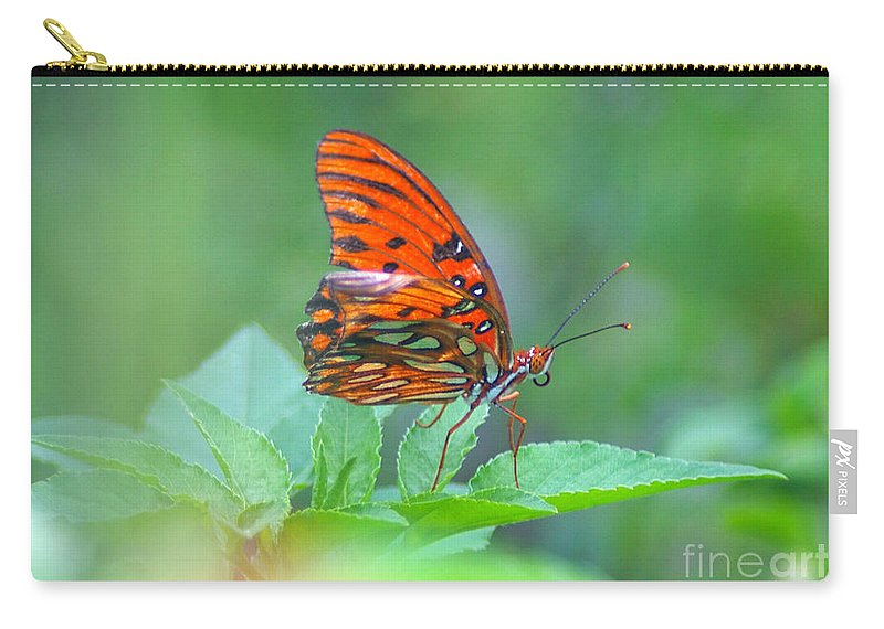 Butterfly Carry-all Pouch featuring the photograph Gulf Fritillary 2 by Nancy L Marshall