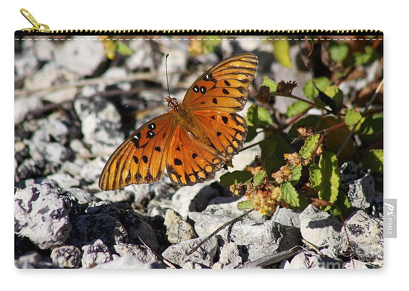 Orange Butterfly Carry-all Pouch featuring the photograph Gulf Fritillary Butterfly - Agraulis Vanillae by Christiane Schulze Art And Photography