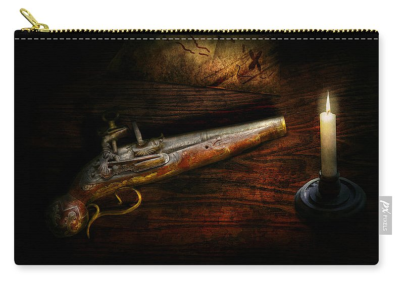 Police Carry-all Pouch featuring the photograph Gun - Pistol - Romance Of Pirateering by Mike Savad