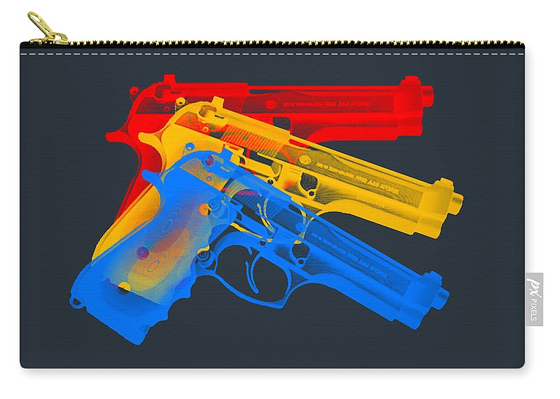 Guns Carry-all Pouch featuring the digital art Guns by Mark Ashkenazi