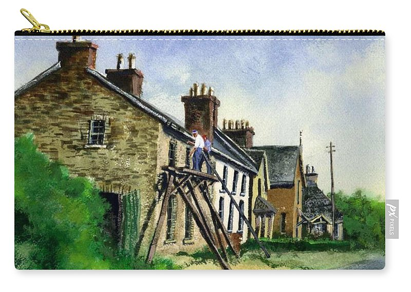 Irish Carry-all Pouch featuring the painting Gutter repair Port Rush Ireland by Jim Gola