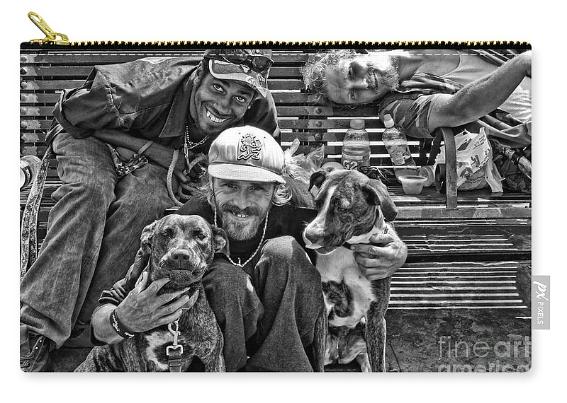 Transient Carry-all Pouch featuring the photograph Guys Dogs Bench In Jackson Square - Bw by Kathleen K Parker