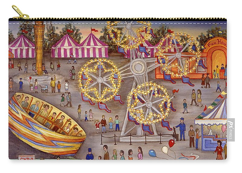 Folk Art Carnival Carry-all Pouch featuring the painting Gyro At The Carnival by Linda Mears